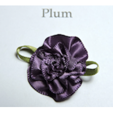 Satin Ribbon Rosette Flowers. Colour: Plum.