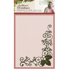 "Sara Davies ""Holly Corner"" Embossing Folder."