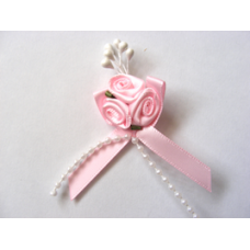 Triple Ribbon Roses with Pearl Trim - Baby Pink