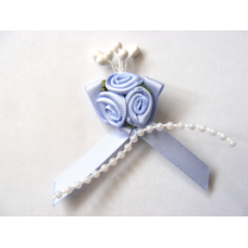 Triple Ribbon Roses with Pearl Trim - Bluebell.