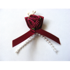 Triple Ribbon Roses with Pearl Trim - Burgundy.