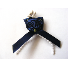 Triple Ribbon Roses with Pearl Trim - Dark Blue.