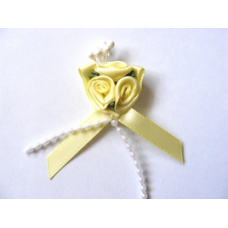 Triple Ribbon Roses with Pearl Trim - Lemon.